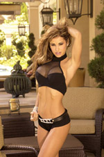 Black fishnet halter top with boy shorts.