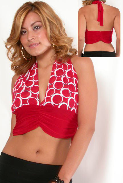 Cure red top with a deep v.
