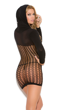 Back view of hooded mini dress