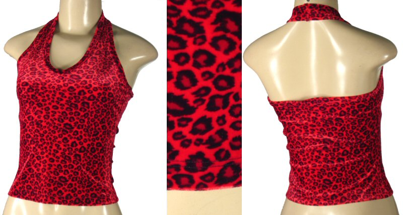 Red and black fuzzy halter top.