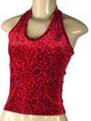 Red and black leopard print top.