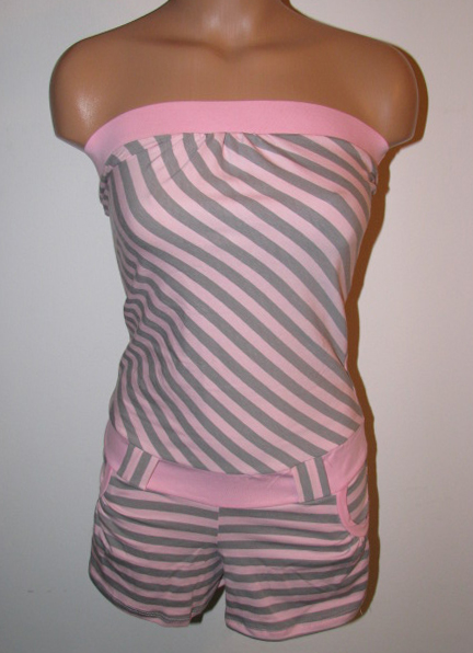 Front View of Pastel Pink and Gray One Piece Summer Wear