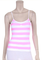Pink and white striped tank top.
