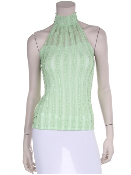 Front view of lime green halter top.